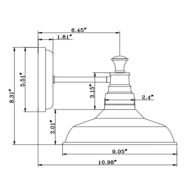 Design House - Kimball 1-Light Galvanized Steel Indoor Sconce