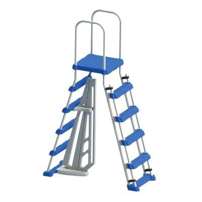 A-Frame Ladder with Safety Barrier for Above Ground