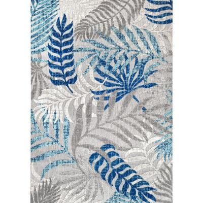 Tropics Palm Leaves Gray/Blue Indoor/Outdoor 8 ft. x 10 ft. Area Rug