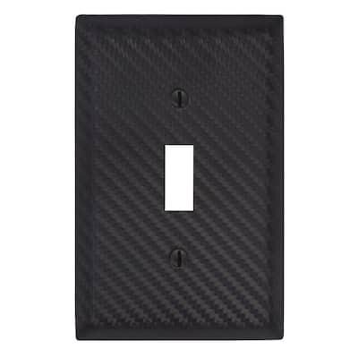Branston 1 Gang Toggle Steel Wall Plate - Black