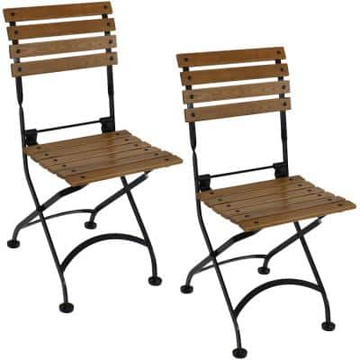 Folding Chestnut Wood Outdoor Dining Chair (Set of 2)