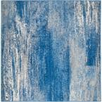 Adirondack Silver/Blue 4 ft. x 4 ft. Square Area Rug