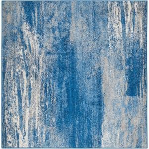 Adirondack Silver/Blue 8 ft. x 8 ft. Square Area Rug