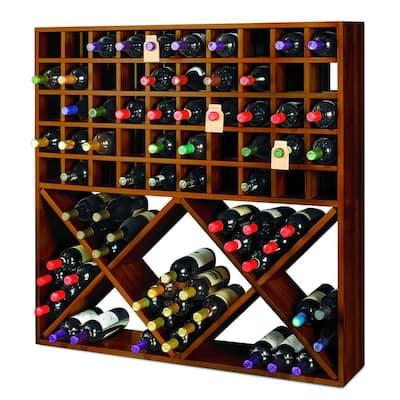 Jumbo Bin Grid 100-Bottle Wine Rack in Walnut