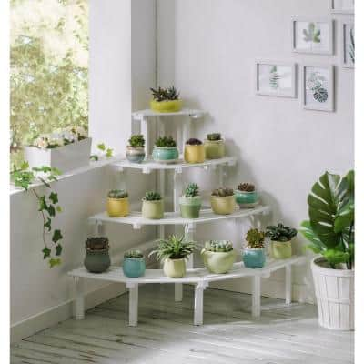 29 in. W x 29 in. D x 31 in. H White Wooden 4-Tier Plant Stand Combination Multi-Layer Flower Indoor Outdoor