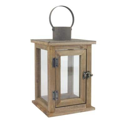 11 in. H Rustic Wood Lantern