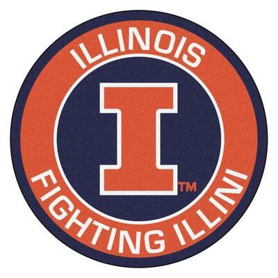 NCAA University of Illinois Orange 2 ft. x 2 ft. Round Area Rug