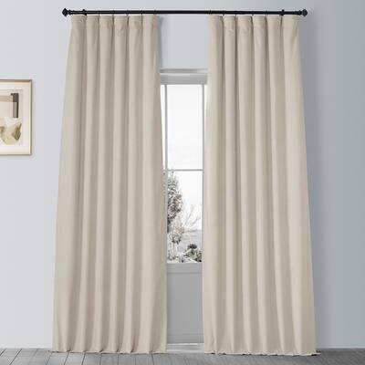 Neutral Ground Velvet Rod Pocket Blackout Curtain - 50 in. W x 96 in. L (1 Panel)