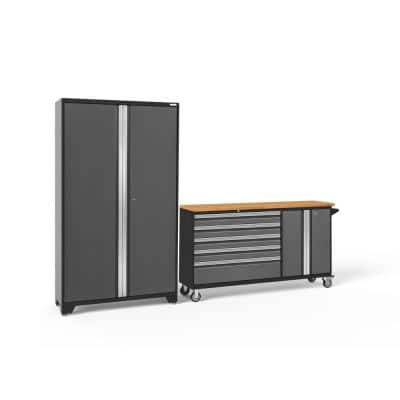 Bold Series 2-Piece 24-Gauge Steel Garage Storage System in Charcoal Gray (104 in. W x 77 in. H x 18 in. D)