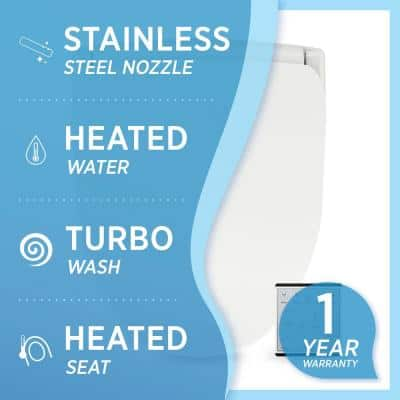 Slim Series Electric Smart Bidet Toilet Seat for Elongated Toilets in White with Remote Control and Nightlight