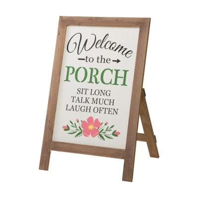 29.75 in. H Welcome to the Porch Wood Framed Easel Porch Sign with Flowers