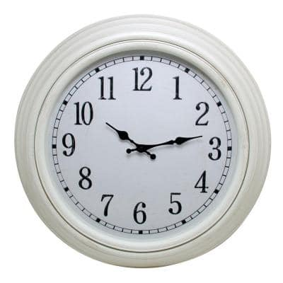 Emmerson 20 in. Wall Clock 2 in. D - Weathered White