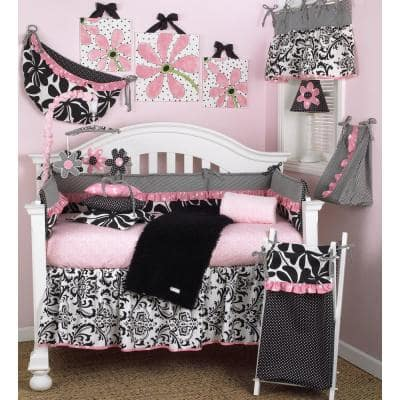 Girly 8-Piece Pink, Black and White Floral Crib Bedding Set