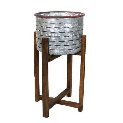 24.5 in. H Silver and Brown Galvanized Metal Planter with Collapsible Wooden Base