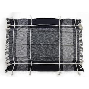 Modern Checks Blue / White Cotton Throw Blanket