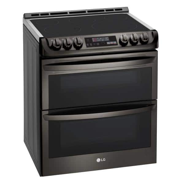 Lg Electronics 7 3 Cu Ft Smart Double Oven Electric Range With Probake Convection Easyclean In Black Stainless Steel Lte4815bd The Home Depot
