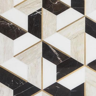 Timbira Saint Laurent 11.81 in. x 10.23 in. Polished Marble and Brass Wall Mosaic Tile (0.83 sq. ft./Each)