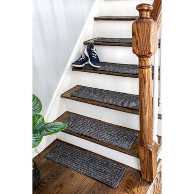 Charcoal 8 in. x 28 in. Stair Treads Braided Lefebvre Indoor/Outdoor