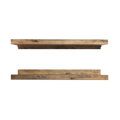 Rustic Luxe 36 in. W x 10 in. D Floating Dark Walnut Decorative Shelves (Set of 2)