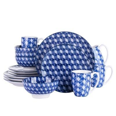 16-Piece Modern Diamonds Check Design Blue Porcelain Dinnerware Sets (Service for Set for 4)
