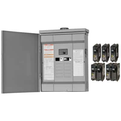Homeline 125 Amp 12-Space 24-Circuit Outdoor Main Breaker Plug-On Neutral Load Center - Value Pack