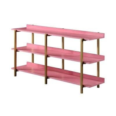 Genesis 32 in. Antique Pink 3-Shelf Contemporary Open Bookcase
