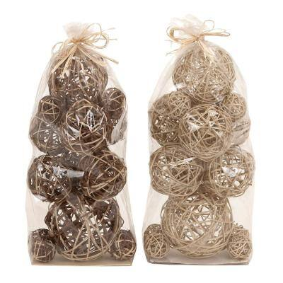 Brown Dried Flower Natural Orbs and Vase Filler (Set of 2)