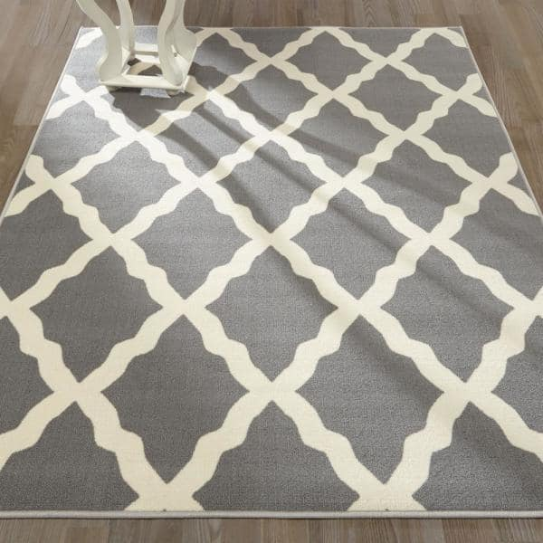 Ottomanson Glamour Collection Contemporary Moroccan Trellis Gray 3 Ft X 5 Ft Kids Area Rug Pnk7023 3x5 The Home Depot