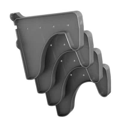 12 in. x 10 in. Silver Set of 4-Side End Brackets for Hanging Rod and Shelf (for mounting to back wall/connecting)
