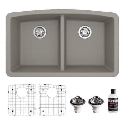 QU-710 Quartz/Granite 32 in. Double Bowl 50/50 Undermount Kitchen Sink in Concrete with Bottom Grid and Strainer