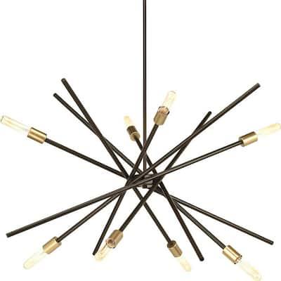 Astra Collection 8-Light Antique Bronze Mid-Century Modern Chandelier Light