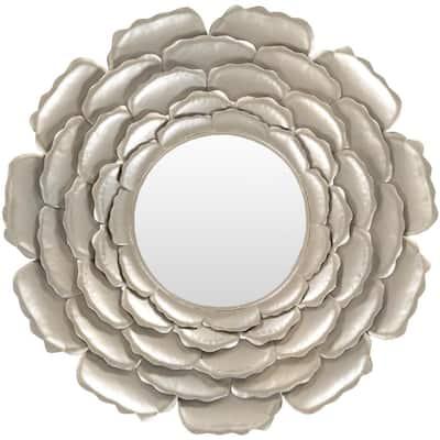 Medium Round Champagne Art Deco Mirror (32 in. H x 32 in. W)