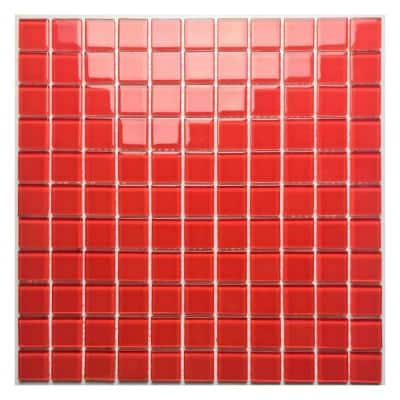 Classic Design Marmalade Red Square Mosaic 11.75 in. x 11.75 in. Glossy Glass Wall Floor & Pool Tile (7.67 sq. ft./Case)
