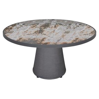 Bodrum Trillium Gray Round Dekton Table Top Outdoor Dining Table with Dark Pebble Weave