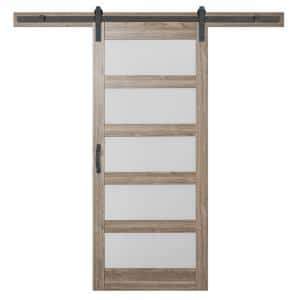 36 in. x 84 in. 5 Equal Lites with Frosted Glass Ash Gray Interior Sliding Barn Door Slab with Hardware Kit