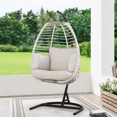 Clyde Wicker Outdoor Hanging Egg Lounge Chair with Light Beige Cushion