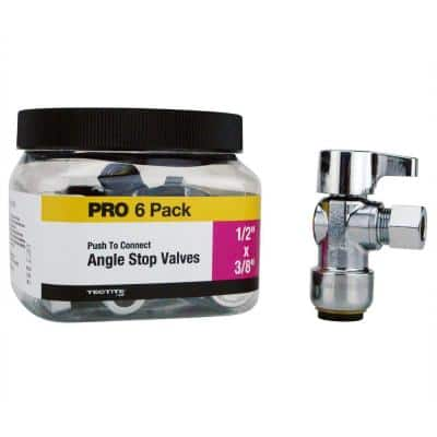 1/2 in. Chrome-Plated Brass Push-To-Connect x 3/8 in. O.D. Compression Quarter-Turn Angle Stop Valve Pro Pack (6-Pack)