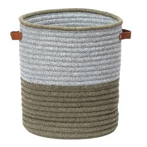 Casa Mesa Green 14 in. x 14 in. x 16 in. Round Blended Wool Basket