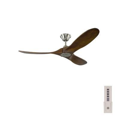 Maverick II 52 in. Indoor/Outdoor Brushed Steel Ceiling Fan with Dark Walnut Balsa Blades, DC Motor and Remote Control