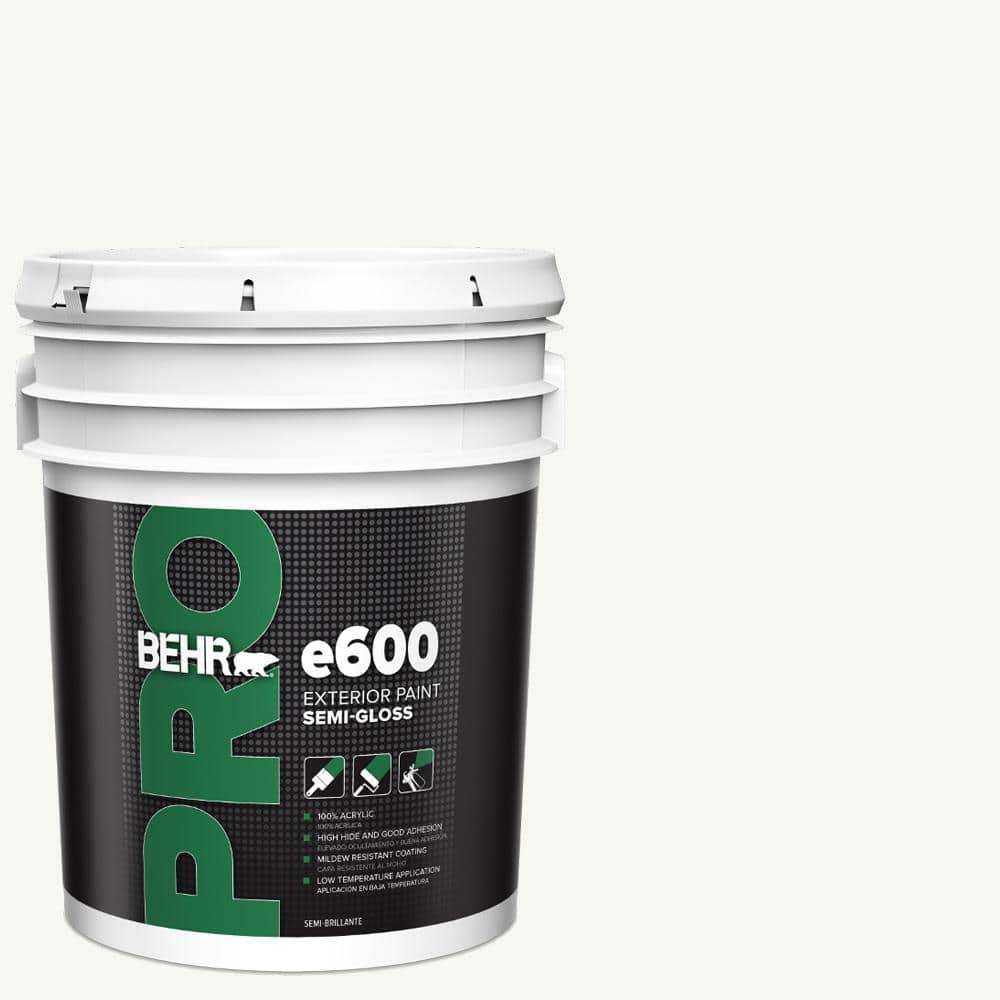 Behr Pro 5 Gal E600 White Semi Gloss Acrylic Exterior Paint Pr67005 The Home Depot
