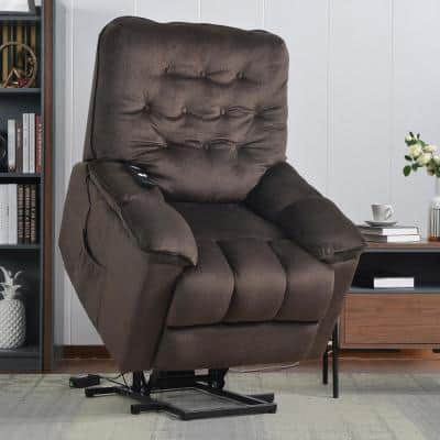 35 in. Width Big and Tall Brown Fabric Tufted Lift Recliner