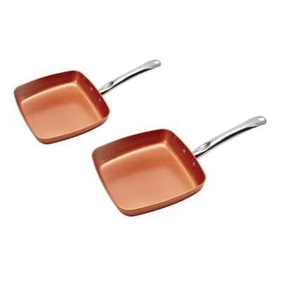 2-Piece Aluminum Nonstick Frying Pan Set in Copper