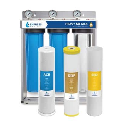 3 Stage Whole House Water Filtration System - Sediment, KDF, Carbon - includes Pressure Gauges and more