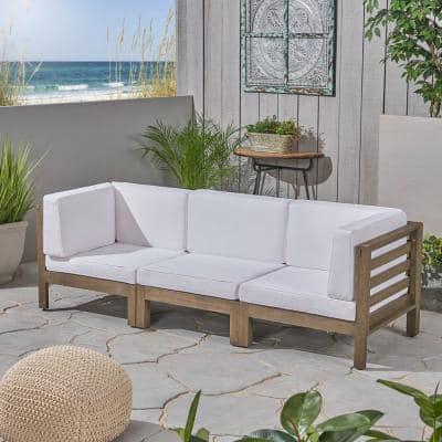 Oana Grey 3-Piece Wood Outdoor Sectional Sofa with White Cushions