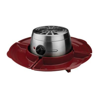 Silver/Red Indoor Electric Stainless Steel S'mores Maker with 4-Trays and 4-Roasting Forks