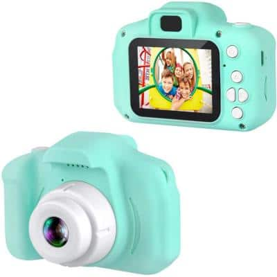 Kids Digital Camera 1080p Color Display Micro SD Slot (32GB SD Card Included) Perfect Gift for Children (Green)