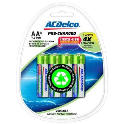 2000 mAh Pre-Charged Rechargeable Ni-MH AA Battery (8-Pack)