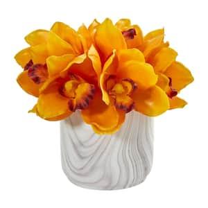Indoor Cymbidium Orchid Artificial Arrangement in Marble Vase