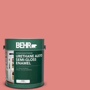 Behr 1 Gal Ppu1 04a Watermelon Punch Urethane Alkyd Semi Gloss Enamel Interior Exterior Paint 393001 The Home Depot