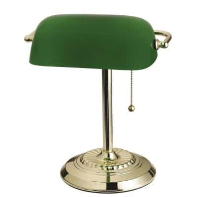 14.5 in. Brass Banker's Desk Lamp with Green Shade